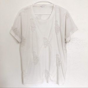 Socialite White Distressed Tee Size Large